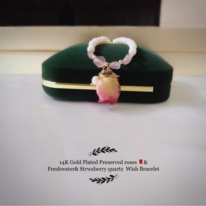 14K Gold Plated preserved Rose & freshwater Pearl